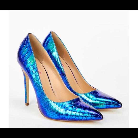 d65911d19 JustFab Shoes   Mermaid Iridescent Blue Green High Heel Pumps   Poshmark